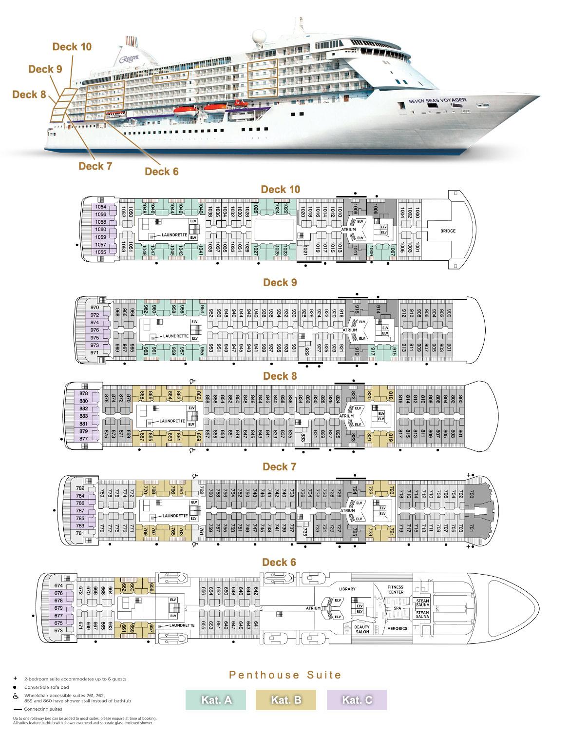 Penthouse Suite A / B / C - Seven Seas Voyager - Bild 4 - Lage Thumb
