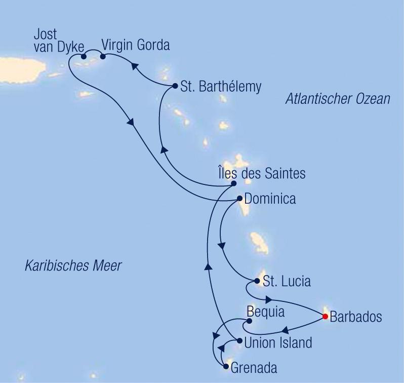 Sea Cloud II SCII-C2144 Herrliche Festtage unter wei�en Segeln entlang der paradiesischen  Antillen - Routenbild