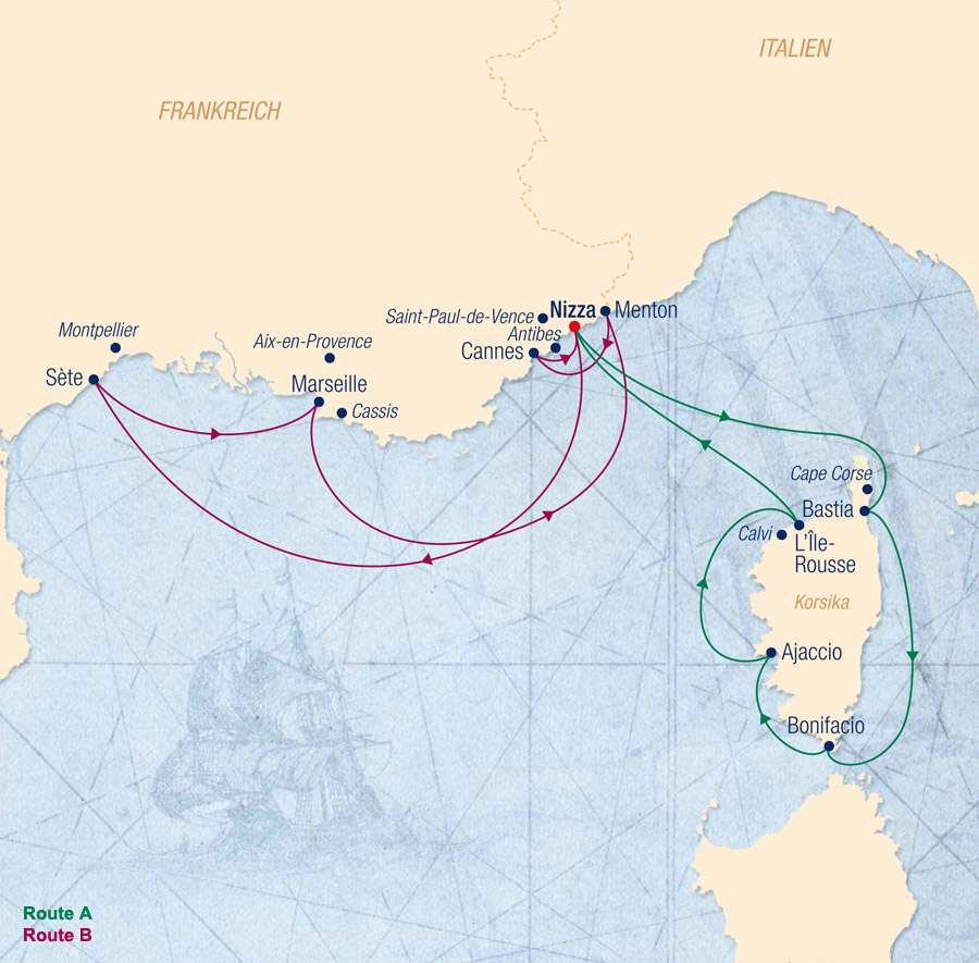 Sea Cloud II Route A Unterwegs zwischen der C�te d�Azur und Korsika - ab/bis Nizza - Routenbild