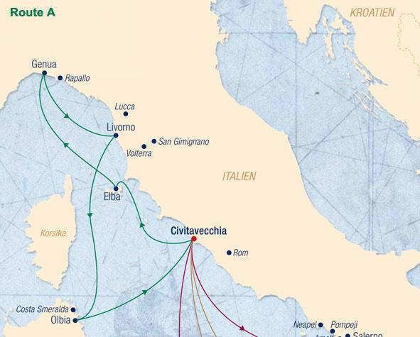 Sea Cloud Spirit Route A Toskana und Sizilien unter vollen Segeln - von/bis Rom (Civitavecchia) - Routenbild