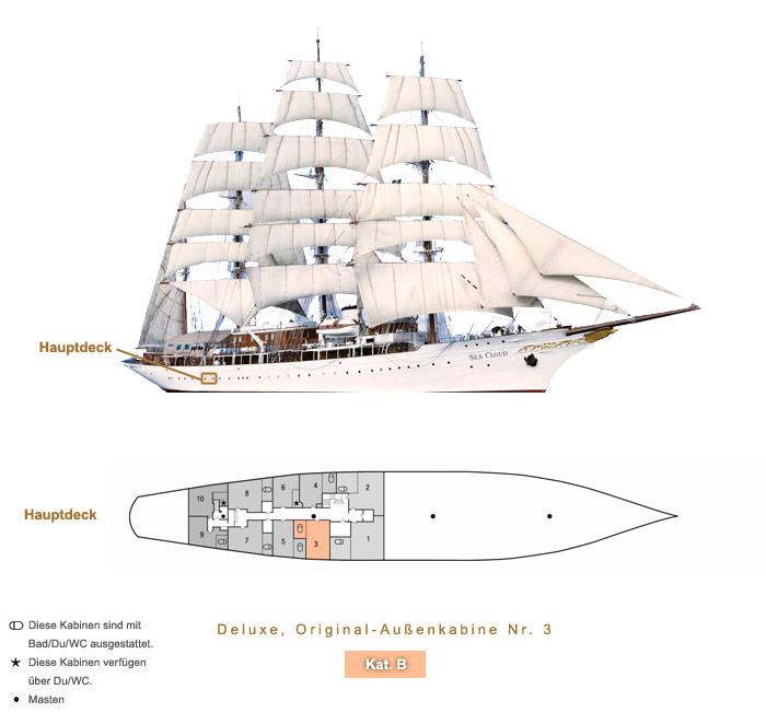 Deluxe Original Außenkabine Nr. 3 B - Sea Cloud - Bild 4 - Lage Thumb