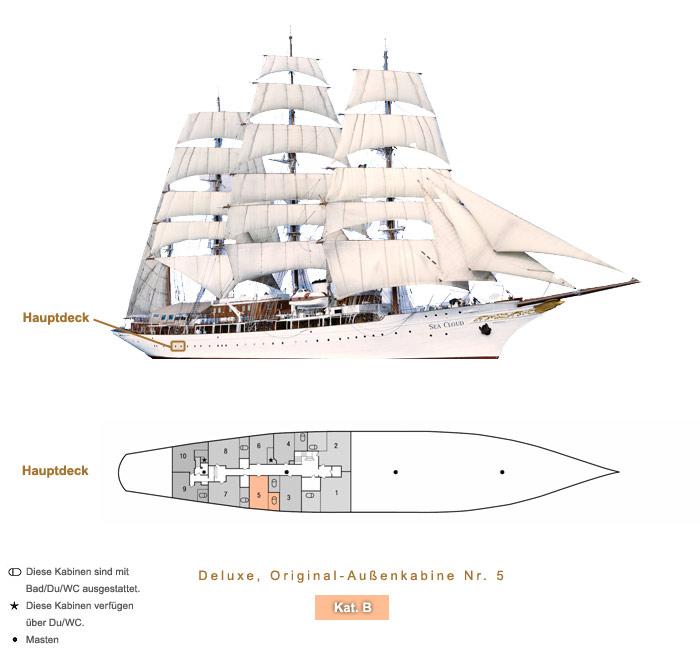 Deluxe Original Außenkabine Nr. 5 B - Sea Cloud - Bild 4 - Lage Thumb