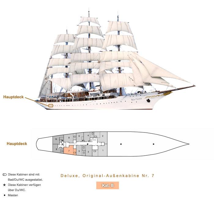 Deluxe Original Außenkabine Nr. 7 B - Sea Cloud - Bild 4 - Lage Thumb