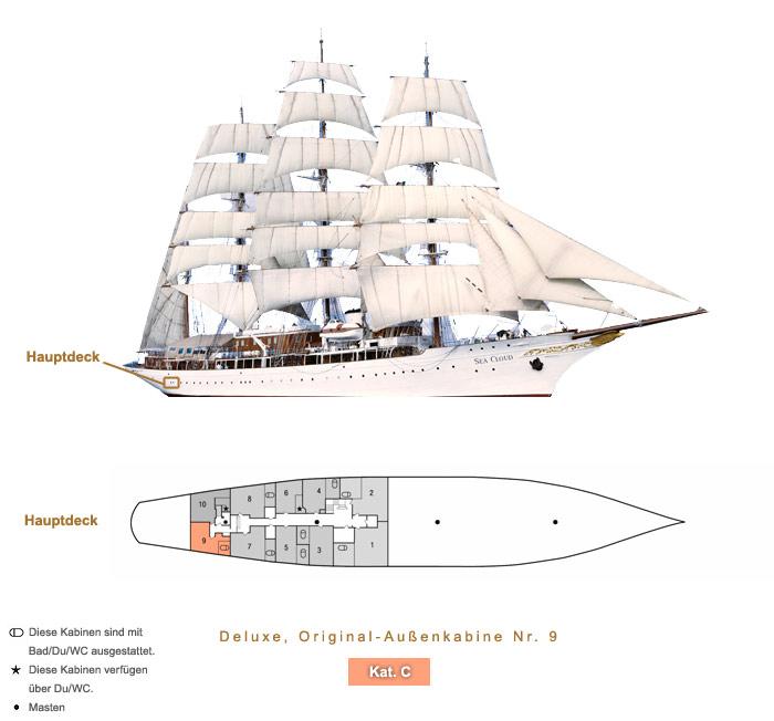 Deluxe Original Außenkabine Nr. 9 C - Sea Cloud - Bild 4 - Lage Thumb