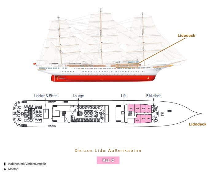 Deluxe Lido Außenkabine C - Sea Cloud Spirit - Bild 3 - Lage Thumb