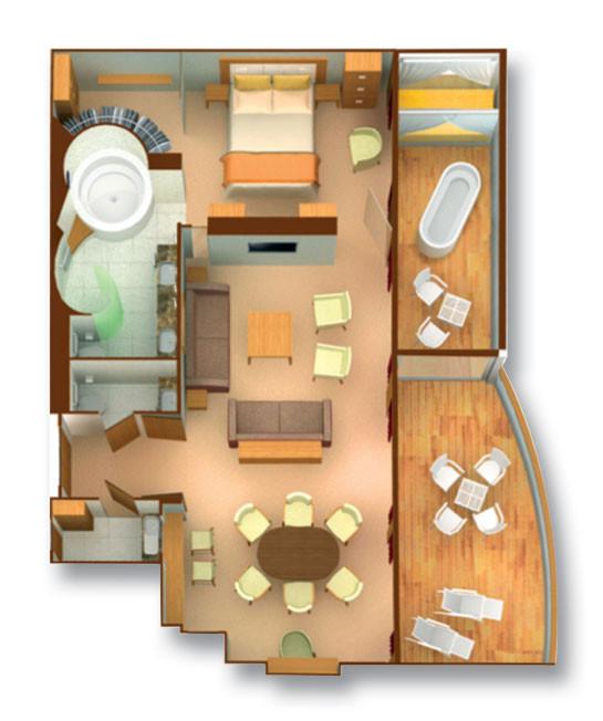 Wintergarten Suite - Seabourn Odyssey - Wintergarten Suite WG - Seabourn Odyssey - Bild 4 - Grundriss Thumb