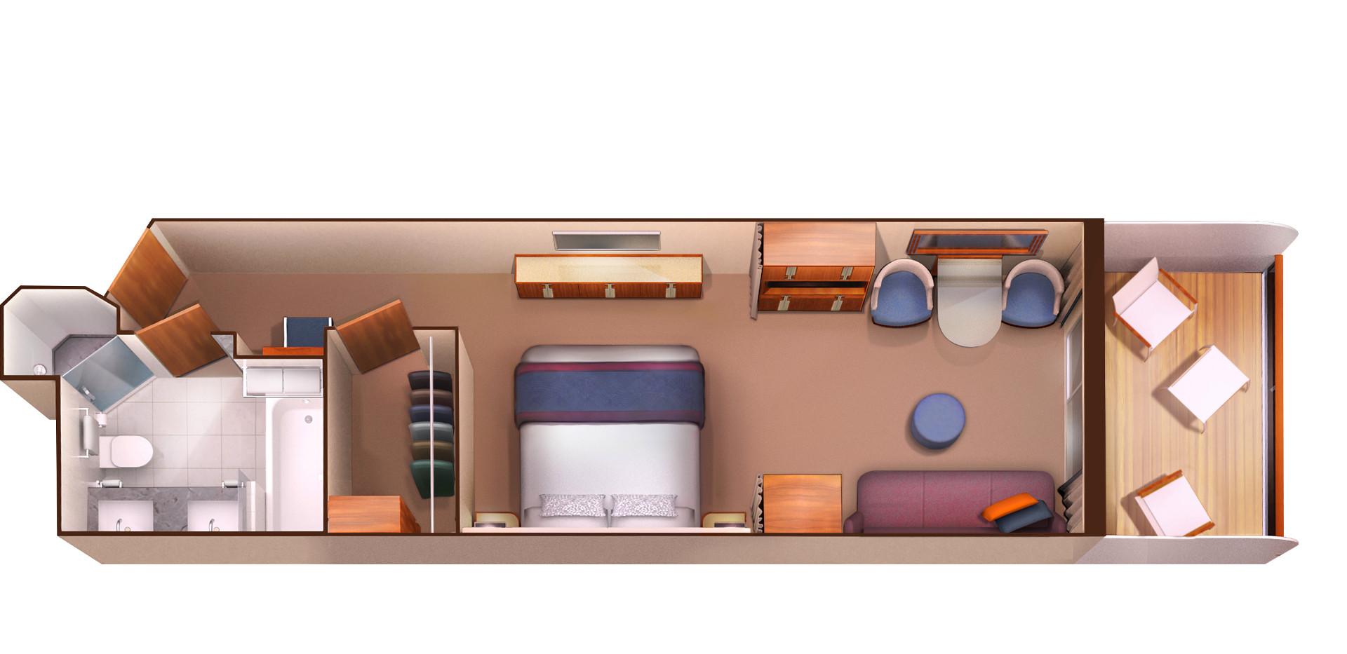Veranda Suite - Seabourn Encore - Veranda Suite V1 / V2 / V3 / V4 / V5 / V6 - Seabourn Encore - Bild 4 - Grundriss Thumb