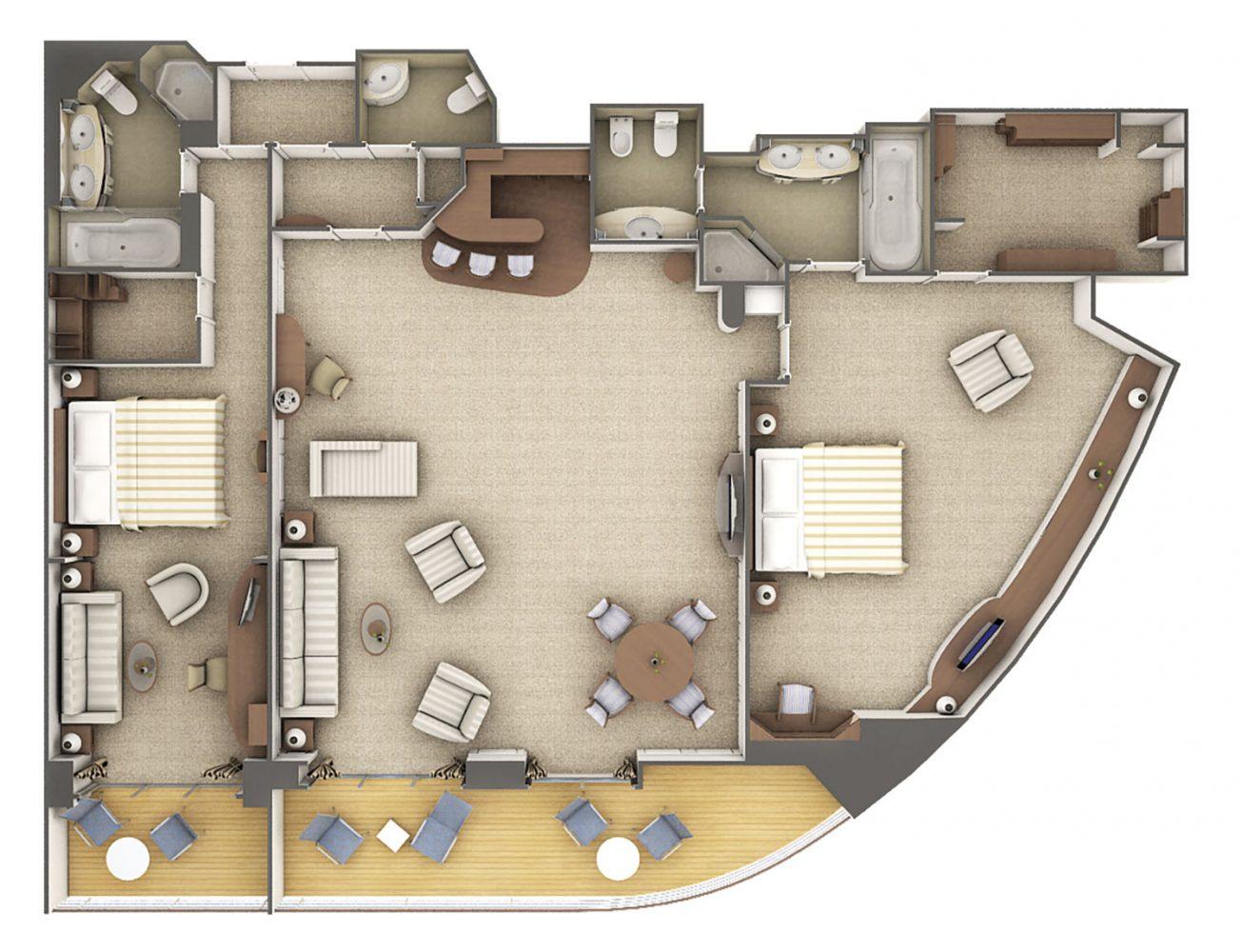 Grand Suite - Silver Whisper - Grand Suite G1 / G2 2 Schlafzimmer - Silver Whisper - Bild 5 - Grundriss Thumb